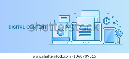Forms of content, Digital content marketing, Content publishing and sharing flat style vector banner