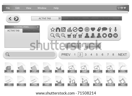 Forms template for desktop application. Editable vector illustration.