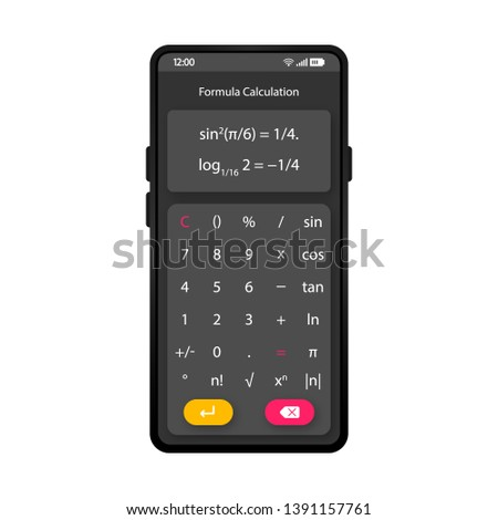 Formula calculation smartphone interface vector template. Mobile calculator app page black design layout. Calculus screen. Flat UI for accounting application. Mathematical equation phone display