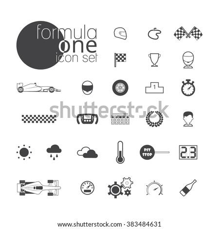 Formula 1 icon set. Vector illustration isolated on white background Stock photo ©