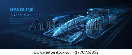 Formula One f1. Abstract vector 3d f 1 bolide rasecar on speedway. Fast motion. Finish line. Success in competition, rase winner, business win concept. Auto sport, fast automobile symbol