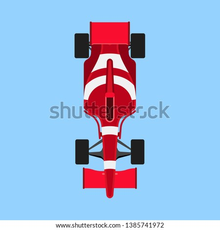 Formula 1 race car sport vector icon top view. Speed auto f1 champion red vehicle. Bolide rally prix flat game transport