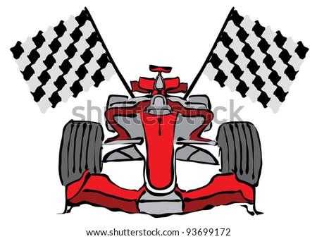 Formula 1 Racing Car Vector Illustration