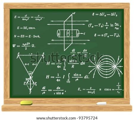 Formulas of physics written in chalk on the blackboard