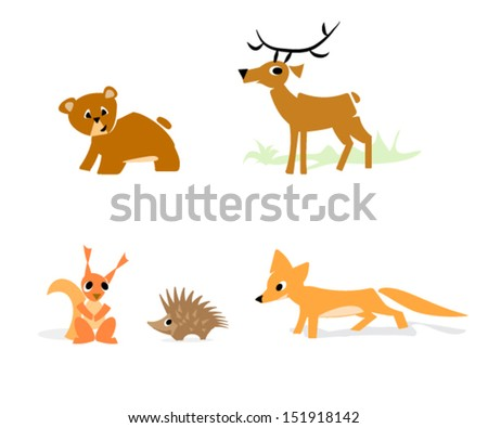 forrest animals set, simple minimal style, simplified shapes for kids, vector