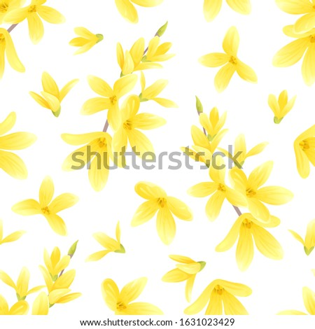 Forsythia yellow flowers on white background seamless pattern. Vector cartoon illustration. Golden-bell tree. Spring blooming.