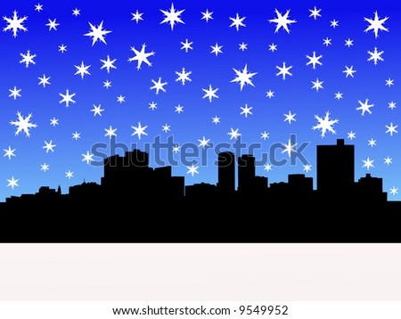 Fort Worth skyline in winter with falling snow illustration
