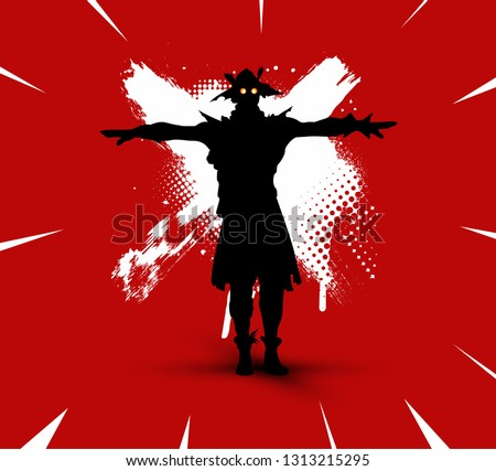 Stock Photo Fortnite illustration. Battle royale concept. Scarecrow(skin) silhouette on bright background with brush strokes and dirty marks (grunge style) vector illustration. Fortnite сharacter