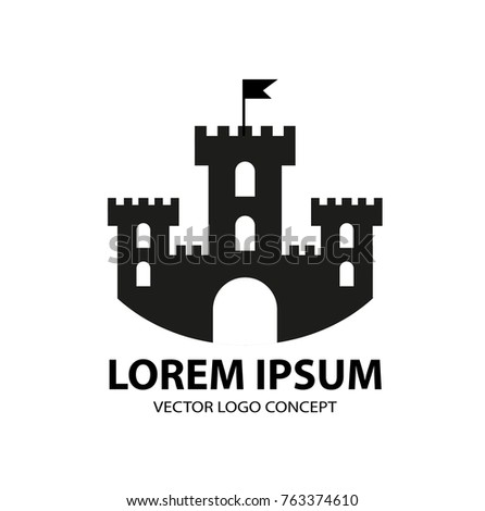 Fortress icon, logo element. Citadel silhouette. Tower or castle isolated on white background. Vector illustration Сток-фото ©