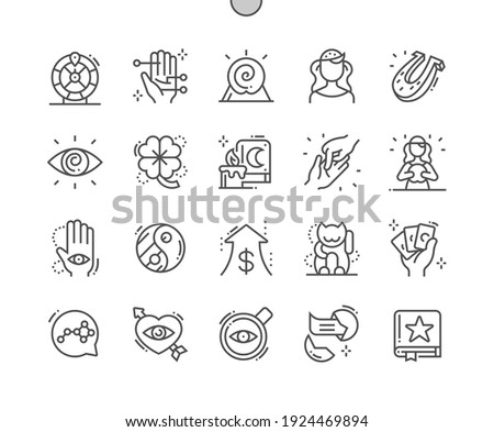 Fortune. Book of predictions. Fortune teller. Chinese money cat. Good luck, risk, gamble, divination and entertainment. Fortune Wheel. Pixel Perfect Vector Thin Line Icons. Simple Minimal Pictogram