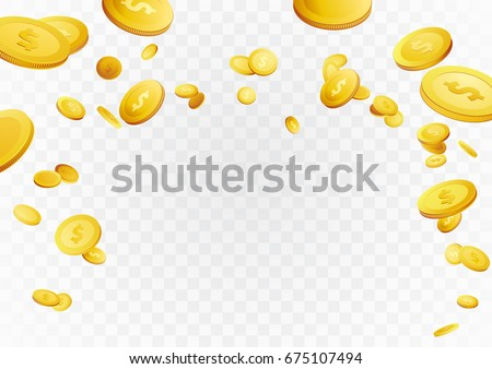 Fortune golden dollar coins flying reward background. Casino cash prize money rain jackpot. Isolated realistic 3D currency over white and grey layout. Vector illustration