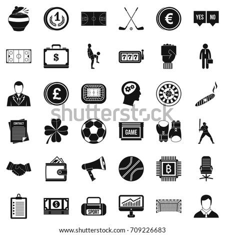 Fortune icons set. Simple style of 36 fortune vector icons for web isolated on white background