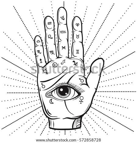 Fortune Teller Hand with Palmistry diagram, hand-drawn all seeing eye. Vector vintage illustration for tattoo template, magic alchemy spirituality zodiac symbol.
