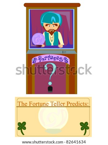 Fortune Teller Machine. A cartoon vector of a fortune telling machine and a card.