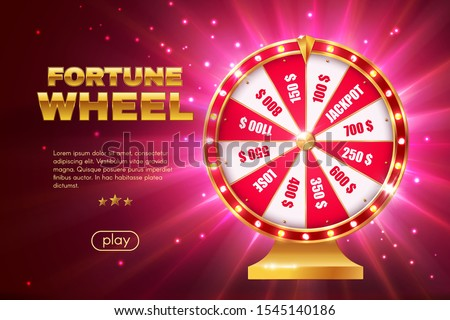 Fortune wheel 3d vector design of gambling game, online casino landing page template. Realistic lottery roulette or spinning prize wheel with red and white winning sections, jackpot and lose