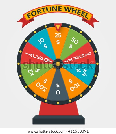 Fortune wheel in flat style. Game money, winner play luck. Vector illustration