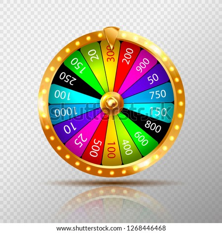 Fortune wheel realistic isolated on transparent background. Casino game of chance. Vector illustration.