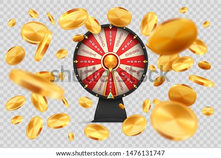 Fortune wheel with gold coins. Lucky roulette on transparent background. Vector 3D realistic image spinning casino wheels for online luxury gambling