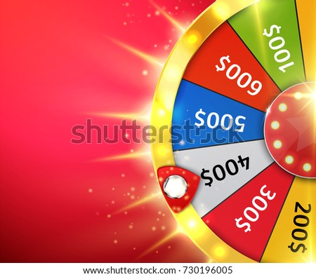 Fortune wheel with sparks. Casino background. Vector illustration