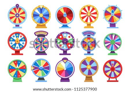 Fortune wheels flat icons set. Spin lucky wheel casino money game symbols. Fortune wheel game, gamble roulette play. Vector illustration