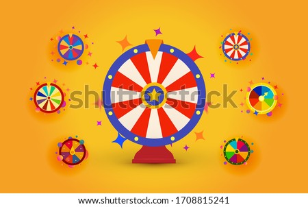 Fortune wheels set for web casino, prize draws and cash prizes, isolated vector wheels icons on bright yellow background