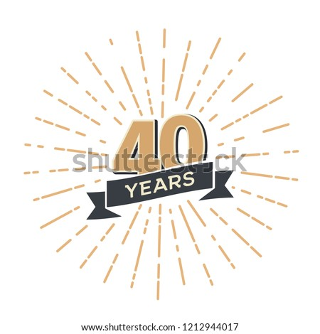 Forty anniversary retro vector emblem isolated template. Vintage logo fortieth 40th years with ribbon and fireworks on white background