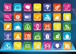Forty different smartphone app icons.