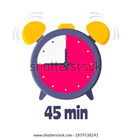 Forty five minutes on analog clock face flat style design vector illustration icon sign isolated on white background. Analogue wall clock 45 minutes time management business concept. Stock photo ©