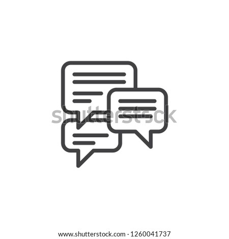 Forum chat comment outline icon. linear style sign for mobile concept and web design. Speech bubbles messages simple line vector icon. Symbol, logo illustration. Pixel perfect vector graphics