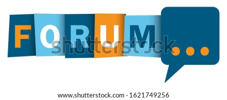 FORUM colorful vector typographic web buttons with speech bubble Stock photo ©