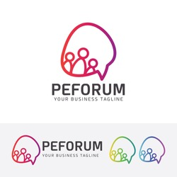 Forum logo design. Talk, Bubble speech, Community logo concept. Vector logo template