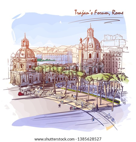 Forum of the Emperor Trajan in Rome, Italy. Painted sketch. Vintage design. Travel sketchbook drawing. EPS10 vector illustration.