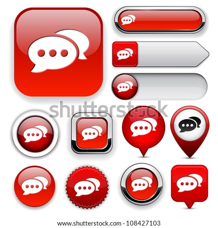 Forum red design elements for website or app. Vector eps10.