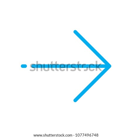 Forward arrow line vector icon. Symbol from set Icons for your interface. Isolated on white background