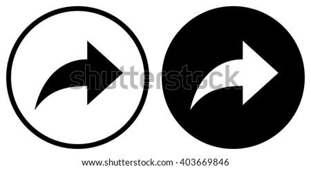 Forward icon in circle . Arrow icon . Vector illustration