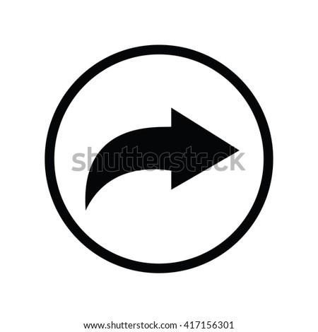 Forward icon in circle . Vector illustration
