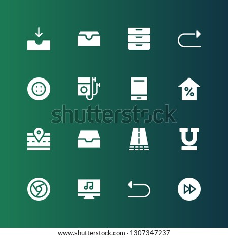 forward icon set. Collection of 16 filled forward icons included Fast forward, Undo, Music player, Chrome, Underline, Road, Inbox, Arrow, Audio player, Button, Redo, Inboxes