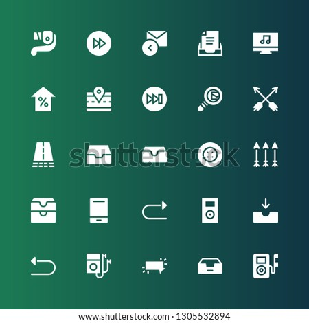 forward icon set. Collection of 25 filled forward icons included Music player, Inbox, Button, Undo, Redo, Audio player, Arrows, Road, Search mail, Forwards, Arrow, Reply, Fast forward
