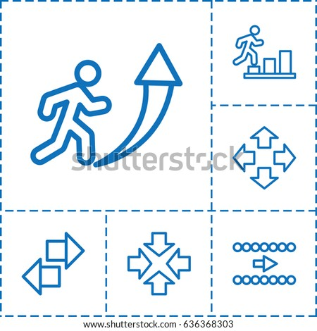 Forward icon. set of 6 forward outline icons such as move, man going up