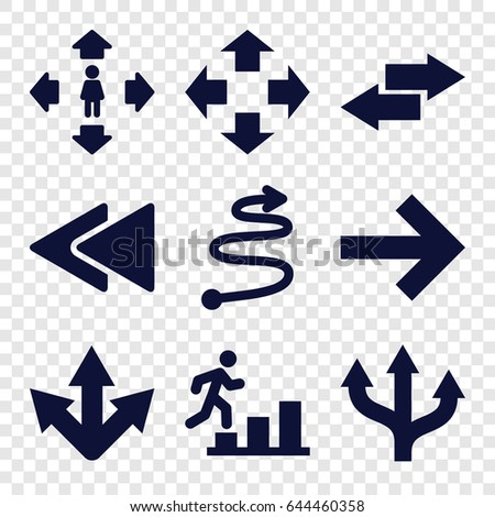 Forward icons set. set of 9 forward filled icons such as man move, play back, curved arrow, arrow, man going up, move
