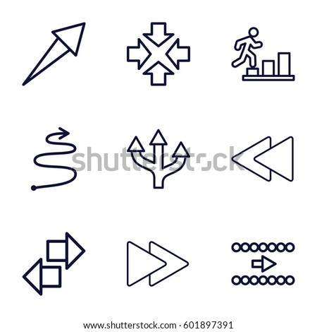 forward icons set. Set of 9 forward outline icons such as fast forward, play back, curved arrow, move, man going up