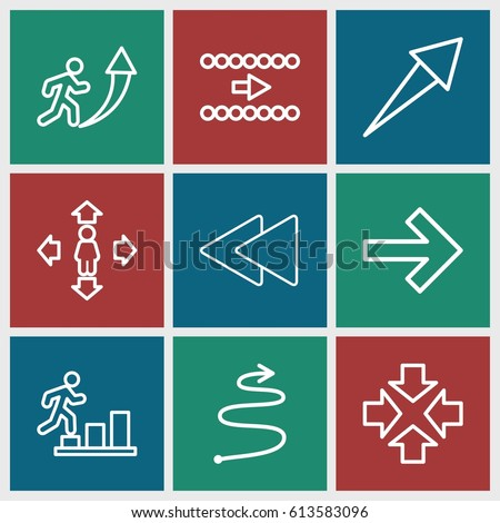 Forward icons set. set of 9 forward outline icons such as man move, play back, curved arrow, move, man going up, arrow