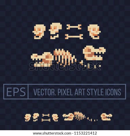 Fossil bone. Archaeological find. Ancient animal bones. Dinosaur skeleton. Prehistoric human skull. Isolated pixel art vector illustration. Design for logo and mobile app. 8-bit sprite.