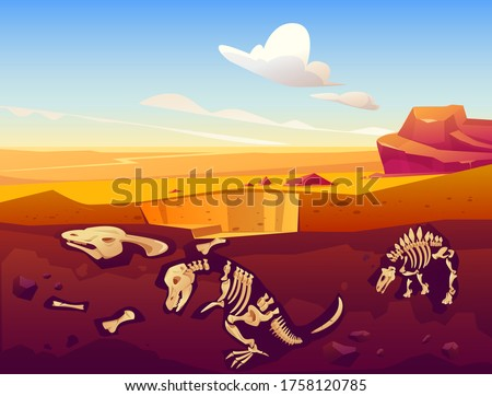 Fossil dinosaurs excavation, paleontology and archeology works. Vector cartoon illustration of desert landscape with buried skeletons of prehistoric reptiles underground Foto d'archivio ©