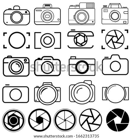 foto camera icon vector set. photo illustration sign collection. focus symbol. cam logo or mark. Foto stock ©