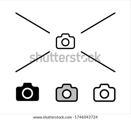 Foto vector line icon. Simple outline camera icon vector illustration. Foto camera linear and glyph icon from shapes concept. Can be used for web and mobile. Icon place for photos. place for images. Foto stock ©