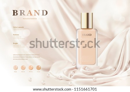 Foundation ads with smooth drapery background in 3d illustration