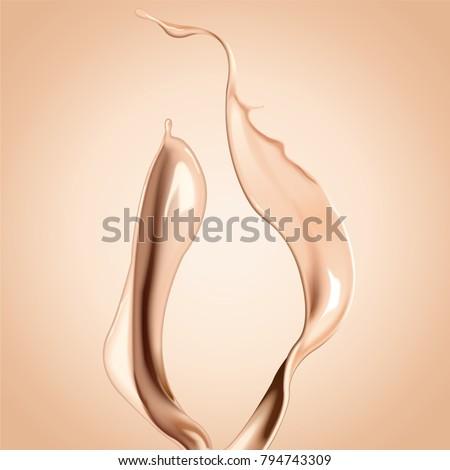 Shutterstock Foundation liquid elements, splashing complexion liquid in 3d illustration