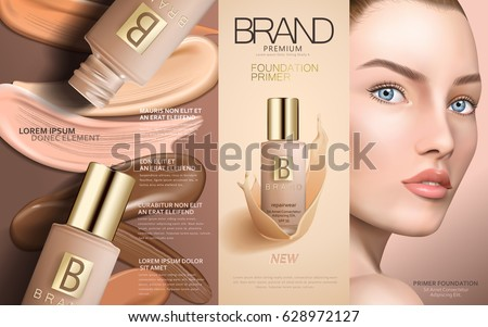 foundation primer contained in cosmetic bottles with model face and colorful foundation smears, 3d illustration