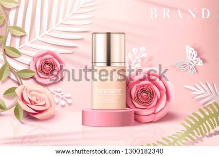 Foundation product ads with paper flowers garden background in 3d illustration
